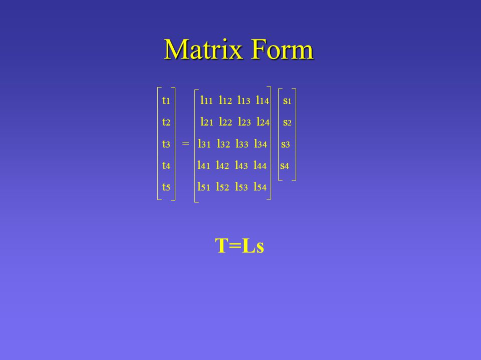 t 1 l 11 l 12 l 13 l 14 s 1 t 2 l 21 l 22 l 23 l 24 s 2 t 3 = l 31 l 32 l 33 l 34 s 3 t 4 l 41 l 42 l 43 l 44 s 4 t 5 l 51 l 52 l 53 l 54 Matrix Form T=Ls