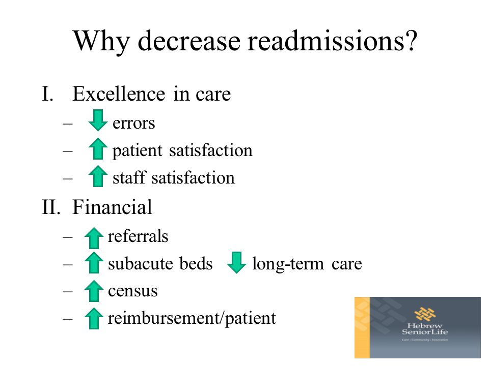 Why decrease readmissions.
