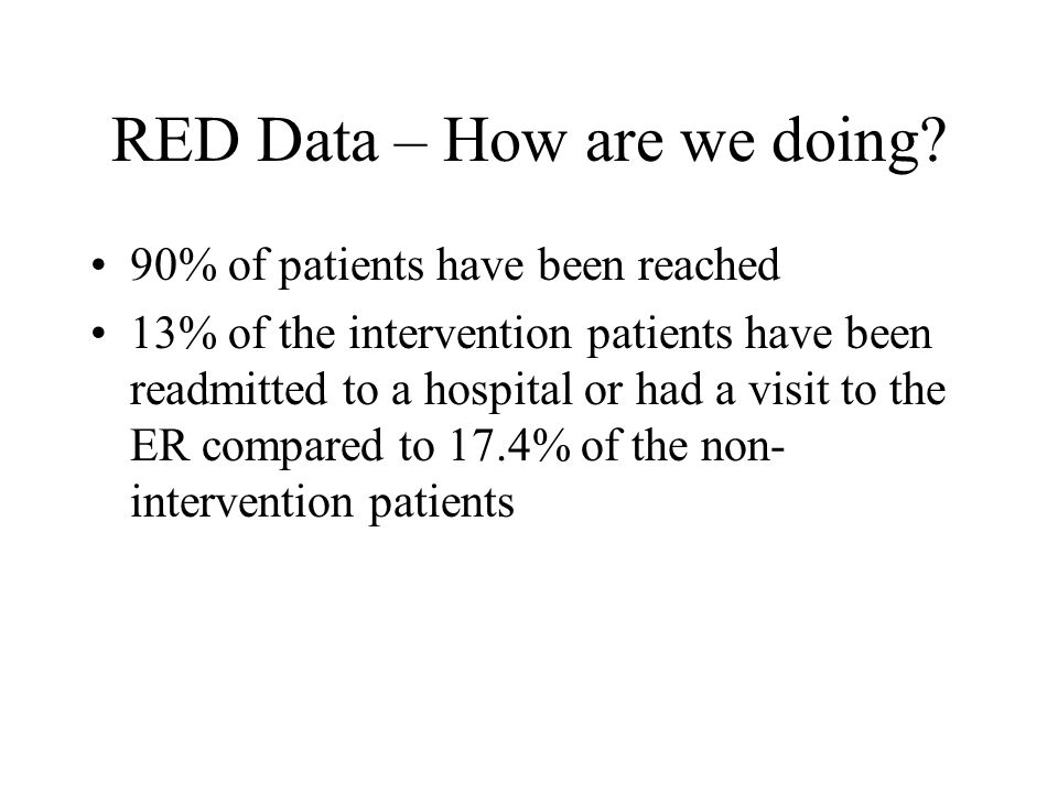RED Data – How are we doing.