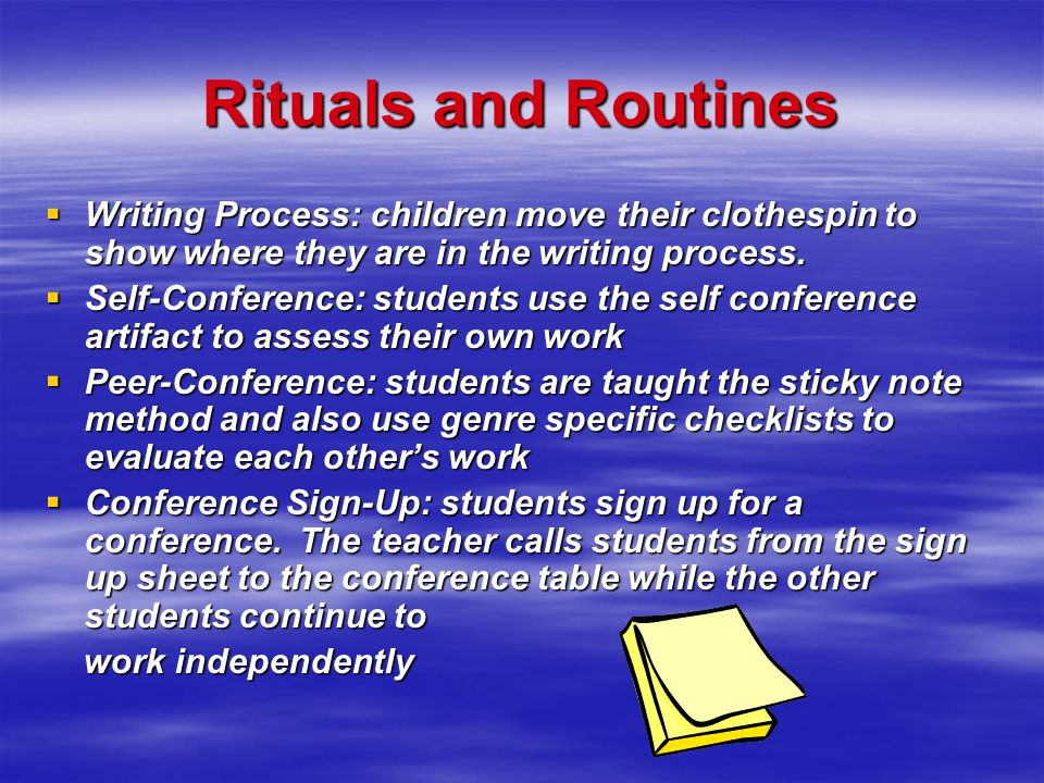 Connection of student generated rubrics and conferencing (Accountable Talk)  Students conference with peers and learn how to self-conference before c