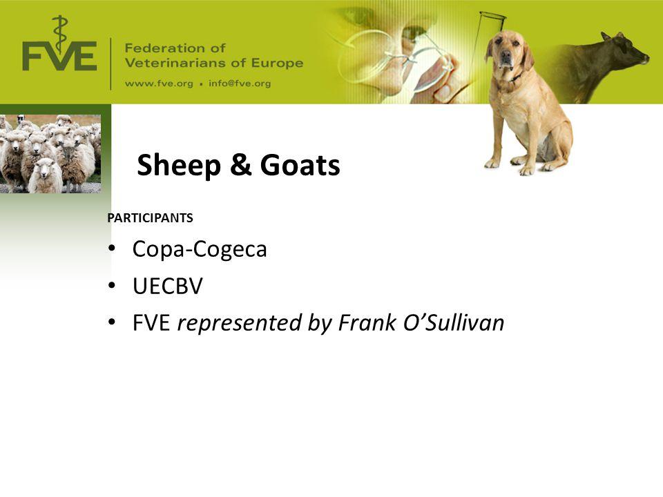 Sheep & Goats PARTICIPANTS Copa-Cogeca UECBV FVE represented by Frank O'Sullivan