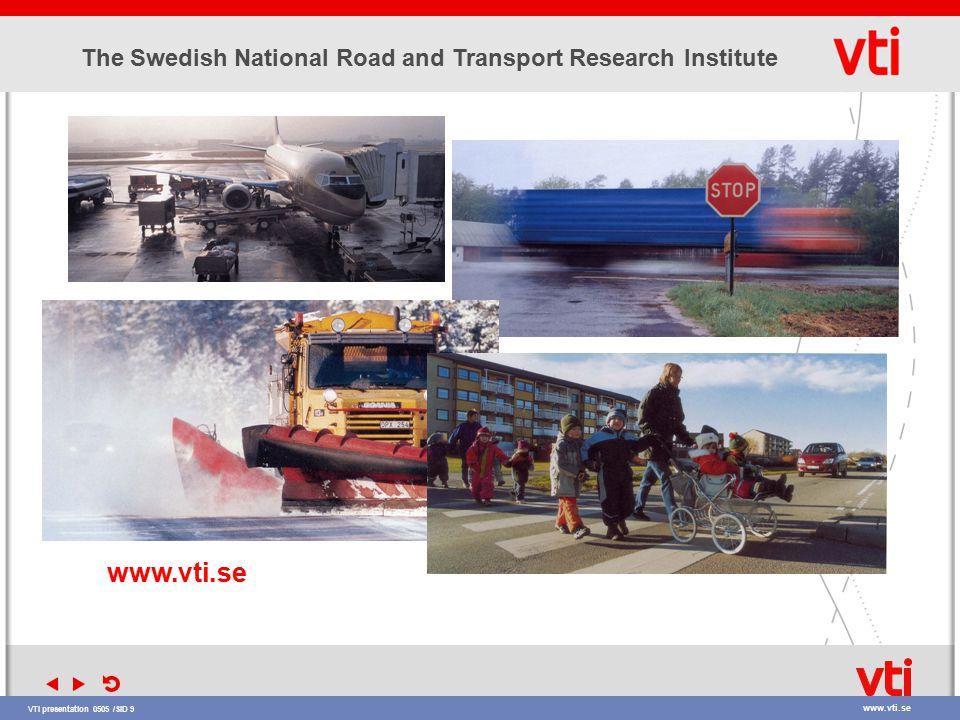 VTI presentation 0505 /SID 9 www.vti.se The Swedish National Road and Transport Research Institute » » www.vti.se