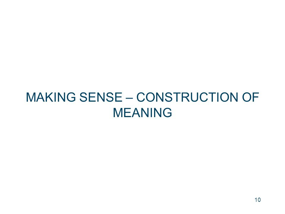 MAKING SENSE – CONSTRUCTION OF MEANING 10