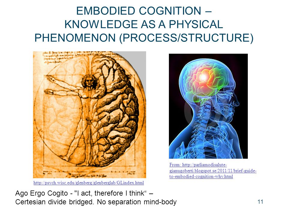 EMBODIED COGNITION – KNOWLEDGE AS A PHYSICAL PHENOMENON (PROCESS/STRUCTURE) 11 Ago Ergo Cogito -