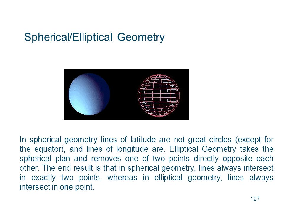 Spherical/Elliptical Geometry In spherical geometry lines of latitude are not great circles (except for the equator), and lines of longitude are. Elli
