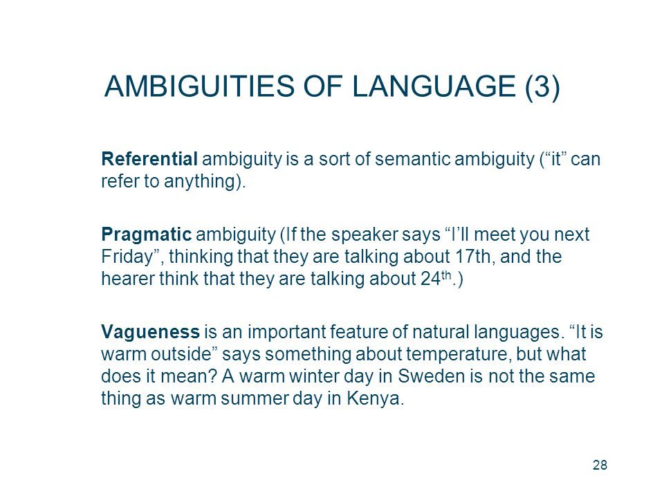 "28 AMBIGUITIES OF LANGUAGE (3) Referential ambiguity is a sort of semantic ambiguity (""it"" can refer to anything). Pragmatic ambiguity (If the speaker"