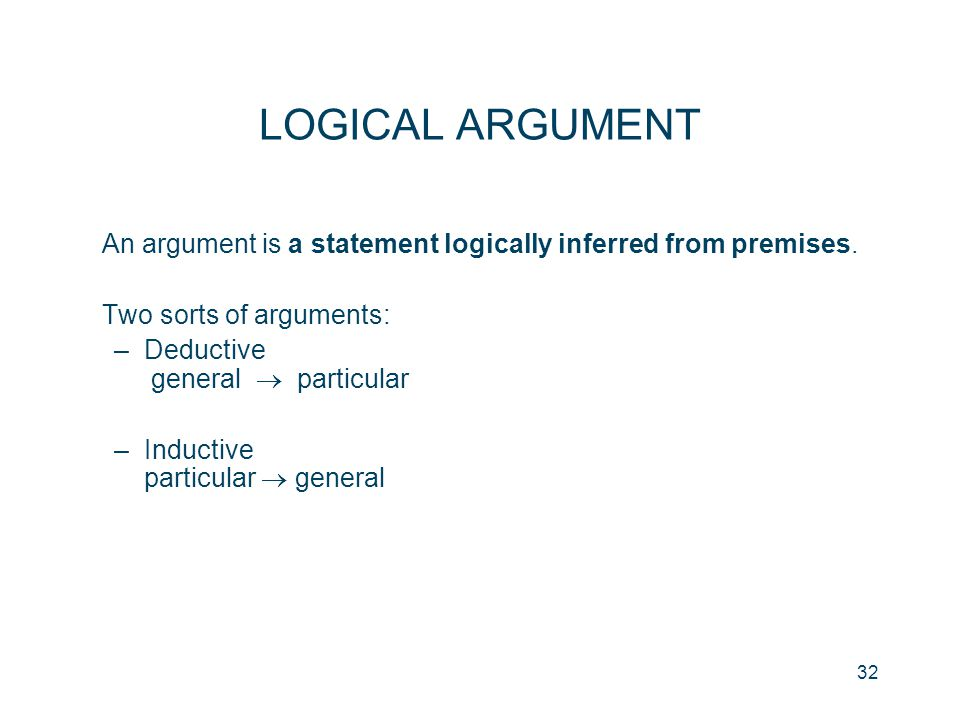 32 LOGICAL ARGUMENT An argument is a statement logically inferred from premises. Two sorts of arguments: –Deductive general  particular –Inductive pa