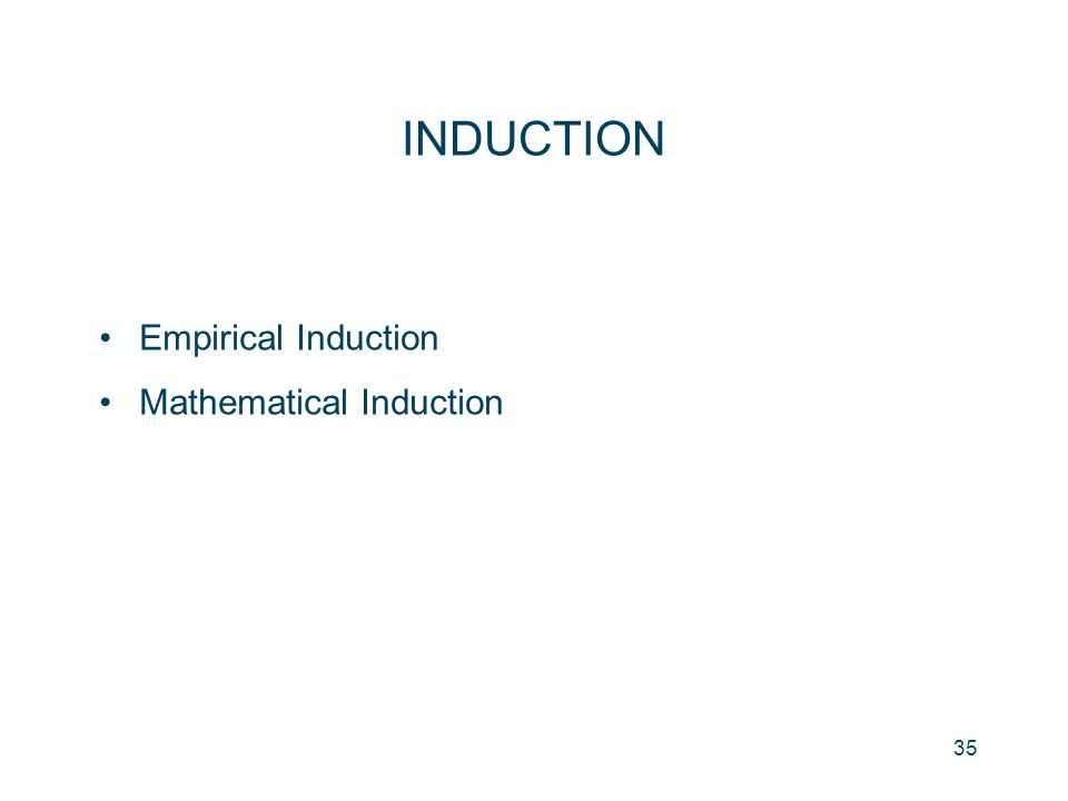 35 INDUCTION Empirical Induction Mathematical Induction