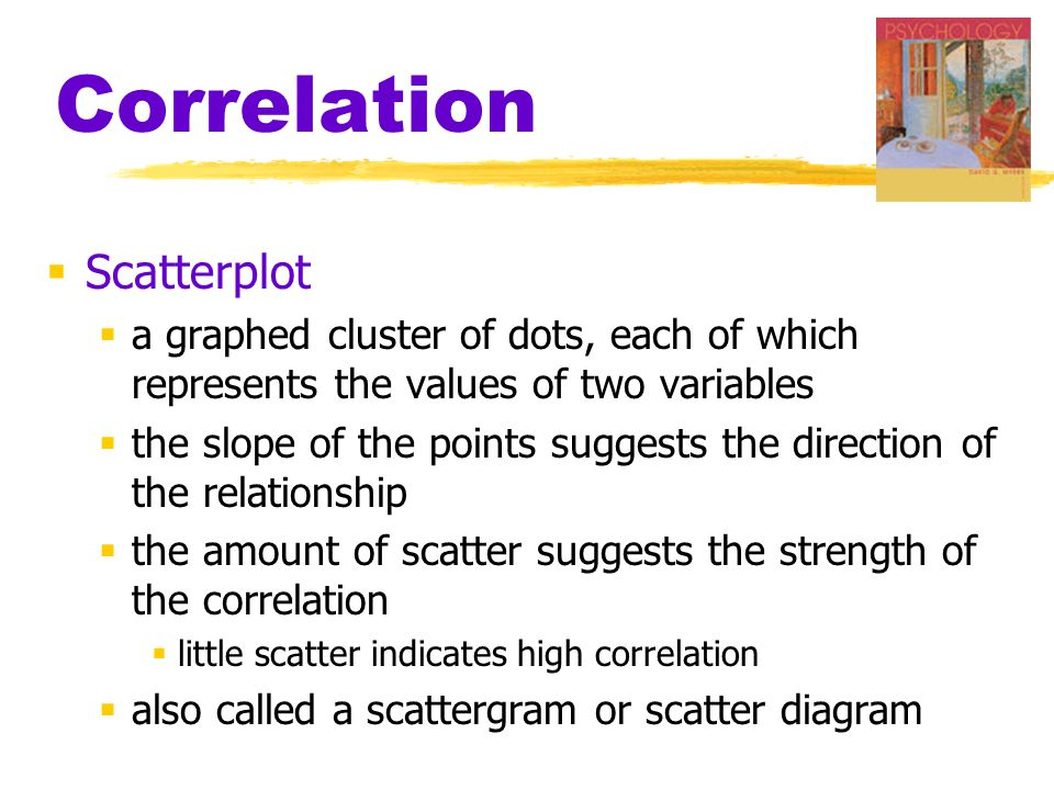 Correlation  Scatterplot  a graphed cluster of dots, each of which represents the values of two variables  the slope of the points suggests the dir