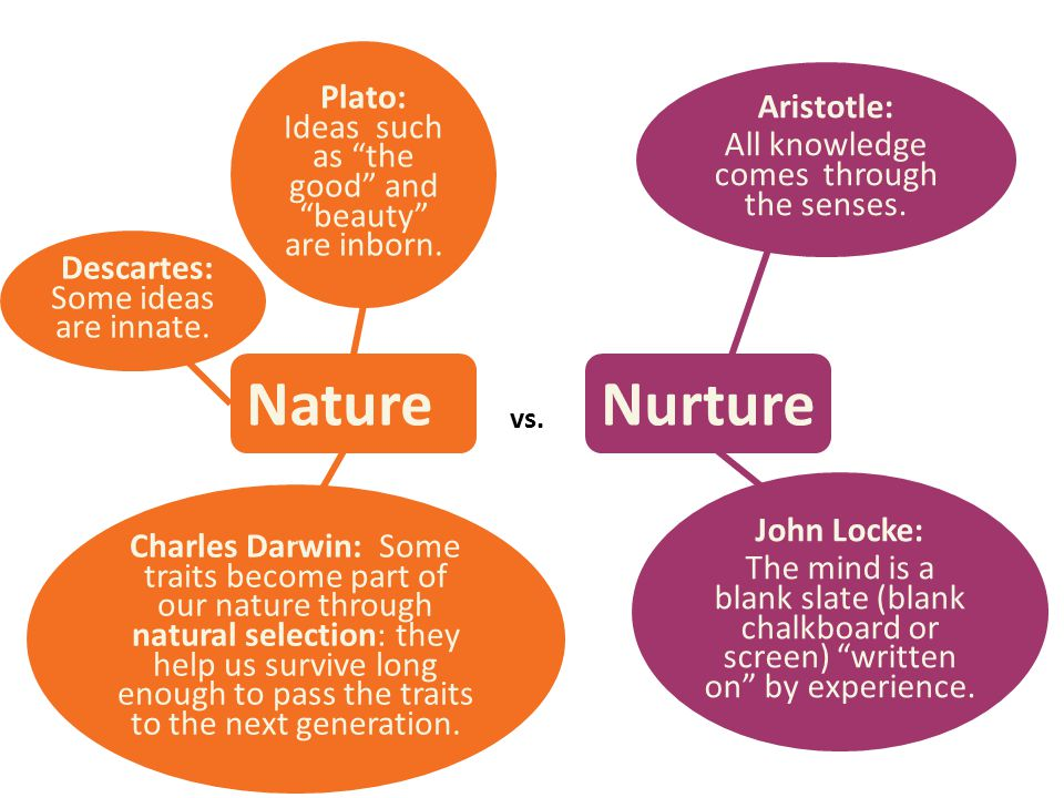 """vs. NatureNurture Plato: Ideas such as """"the good"""" and """"beauty"""" are inborn. Descartes: Some ideas are innate. Charles Darwin: Some traits become part o"""