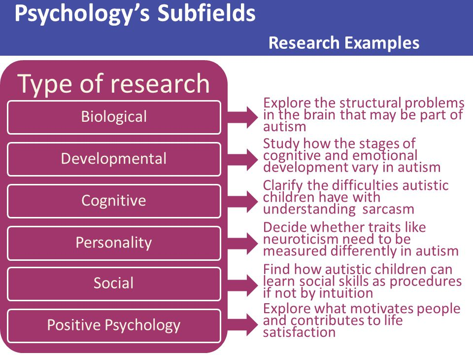 Psychology's Subfields Research Examples Type of research Biological Developmental Cognitive Personality Social Positive Psychology Study how the stag