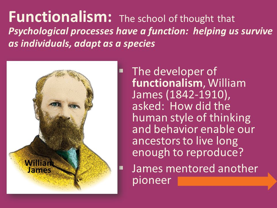 Functionalism: The school of thought that Psychological processes have a function: helping us survive as individuals, adapt as a species  The develop