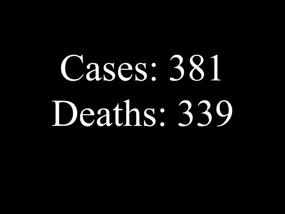 Cases: 381 Deaths: 339
