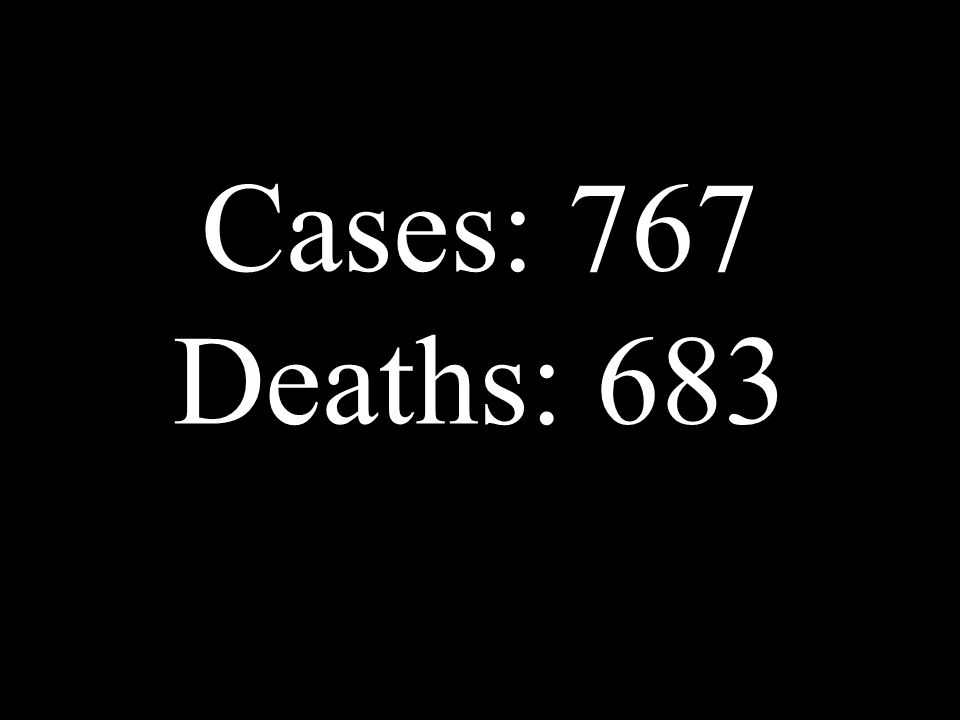 Cases: 767 Deaths: 683