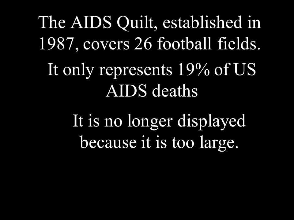 The AIDS Quilt, established in 1987, covers 26 football fields.