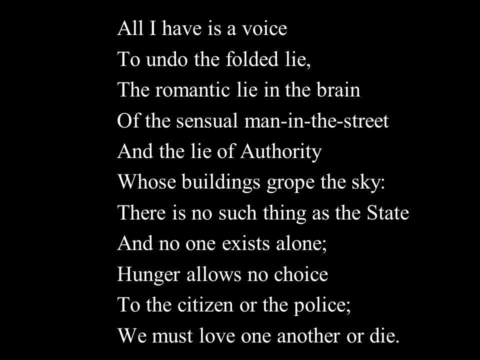 - W. H. Auden From September 1, 1939