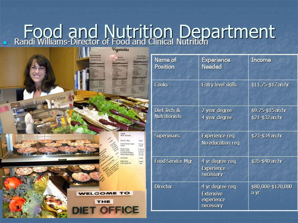Food and Nutrition Department Randi Williams-Director of Food and Clinical Nutrition Randi Williams-Director of Food and Clinical Nutrition Name of Position Experience Needed IncomeCooks Entry level skills $11.75-$17 an hr Diet Tech & Nutritionists 2 year degree 4 year degree $9.75-$15 an hr $21-$32 an hr Supervisors Experience req No education req $23-$34 an hr Food Service Mgr 4 yr degree req Experience necessary $35-$40 an hr Director 4 yr degree req Extensive experience necessary $80,000-$120,000 a yr