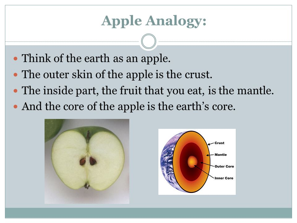 Apple Analogy: Think of the earth as an apple. The outer skin of the apple is the crust.