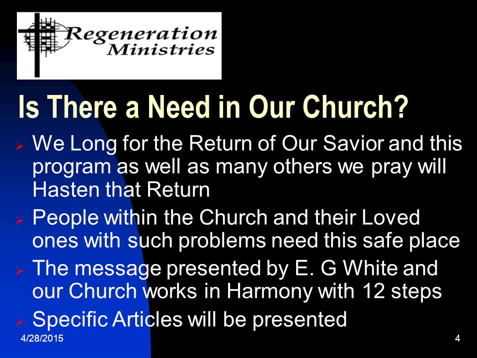 4/28/20155 Resources Available to Your Church  Regeneration Awareness Sabbath program conducted by FS & others at Your Church (Flyers and Hand Outs)  Regeneration Certification Seminars 3-5 Days  Regeneration Training Manual (Adventist Resources), Serenity 12 Step Study Bible (Nelson Publishing), etc.