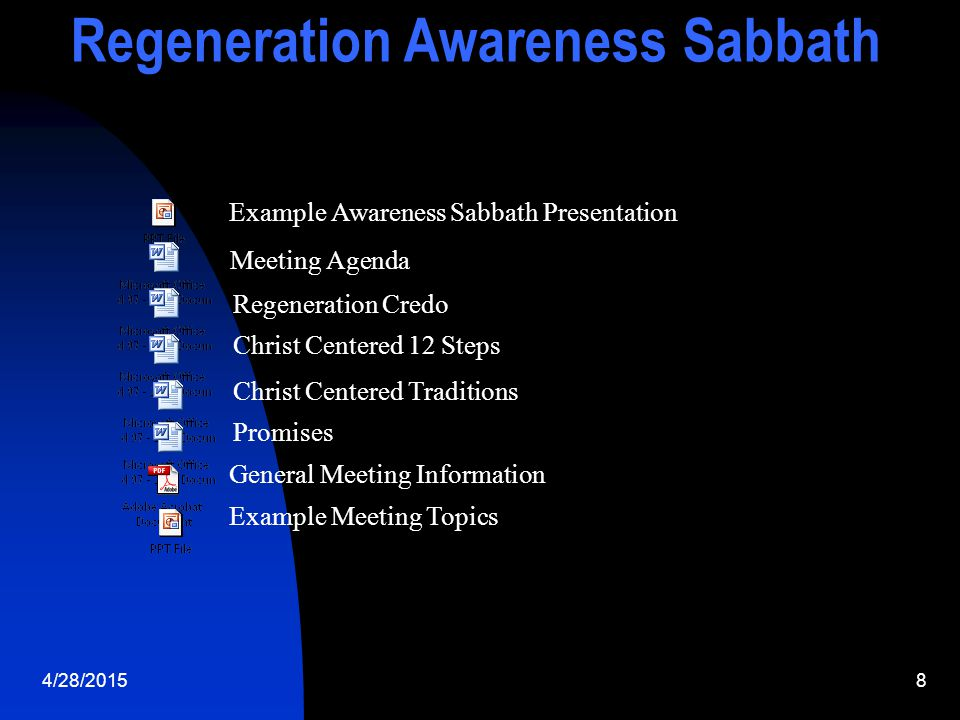 4/28/20159 Regeneration Awareness Sabbath Some Churches where Awareness Days Have Been Conducted Anderson,SC-Atlanta North & South-Belvedere-Brunswick- NASOCA Pines-Southern & Collegedale-Concord,NC-Salisbury,NC Dalton,Ga-Greenville,SC-Greensboro,NC-Jacksonville,Fl-Jasper,Tn- Knoxville,Tn-Lenoir City,Tn-McMinville,Tn-Murfreesboro,Tn-New Covenant&Savannah,Ga-Beauford,SC-Oglethorpe,Ga-Ft Oglethorpe,Tn-Ooltewah,Tn-Pikeville,Tn-Spartanburg,SC- Statesboro,Ga-Tryon,NC-Valdosta,Ga-Waycross,Ga- Waynesville,NC-Woodruff,SC-Winter Springs,Fl- Dallas City Temple, St Augustine, Fl, Westbury, NY, Travelers Rest, SC, Kings Mountain, NC, Canada, California, Washington, Virginia, Maryland, Washington DC Scheduled Awareness Days Ft Meyers, Fl, Andrews University,
