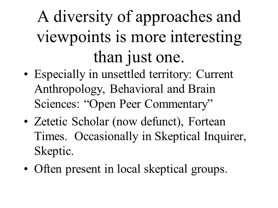 A diversity of approaches and viewpoints is more interesting than just one.
