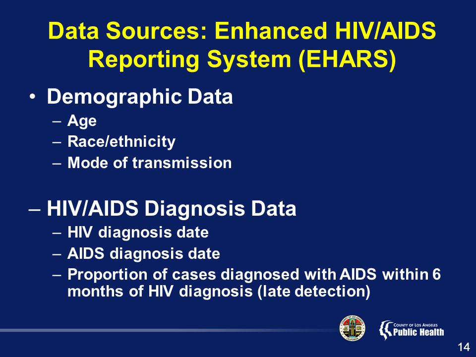 Data Sources: Enhanced HIV/AIDS Reporting System (EHARS) Demographic Data –Age –Race/ethnicity –Mode of transmission –HIV/AIDS Diagnosis Data –HIV diagnosis date –AIDS diagnosis date –Proportion of cases diagnosed with AIDS within 6 months of HIV diagnosis (late detection) 14