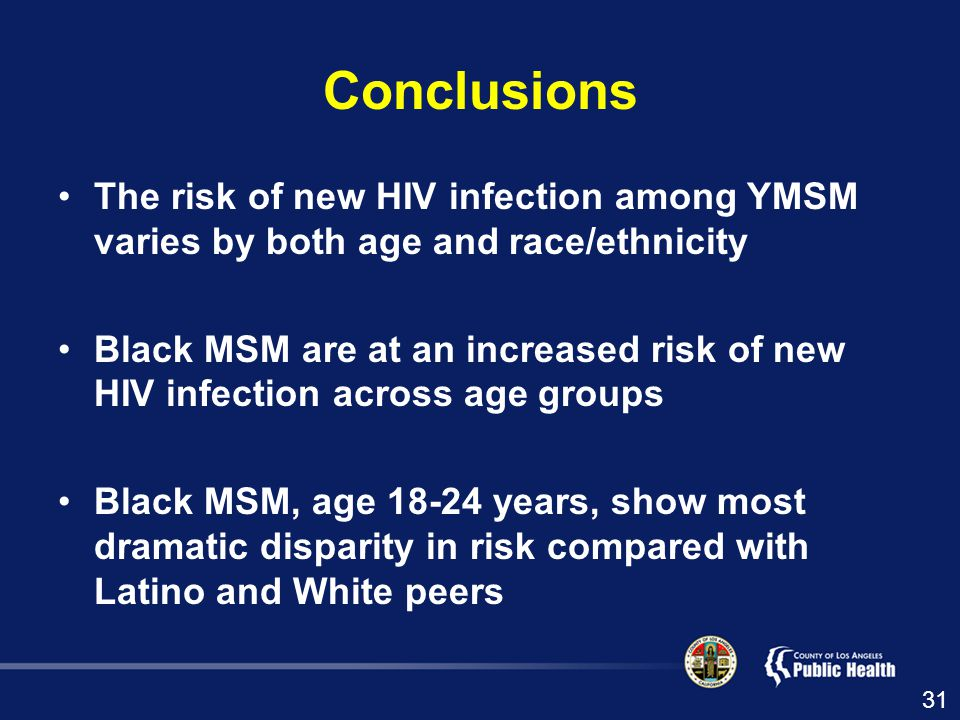 Conclusions The risk of new HIV infection among YMSM varies by both age and race/ethnicity Black MSM are at an increased risk of new HIV infection across age groups Black MSM, age years, show most dramatic disparity in risk compared with Latino and White peers 31