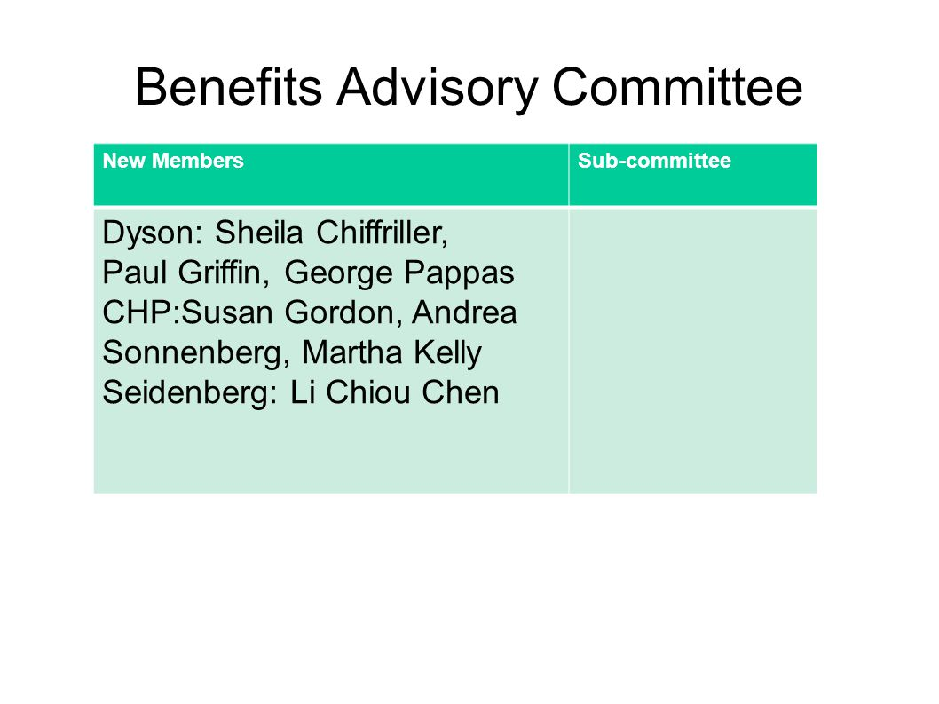 Benefits Advisory Committee New MembersSub-committee Dyson: Sheila Chiffriller, Paul Griffin, George Pappas CHP:Susan Gordon, Andrea Sonnenberg, Martha Kelly Seidenberg: Li Chiou Chen
