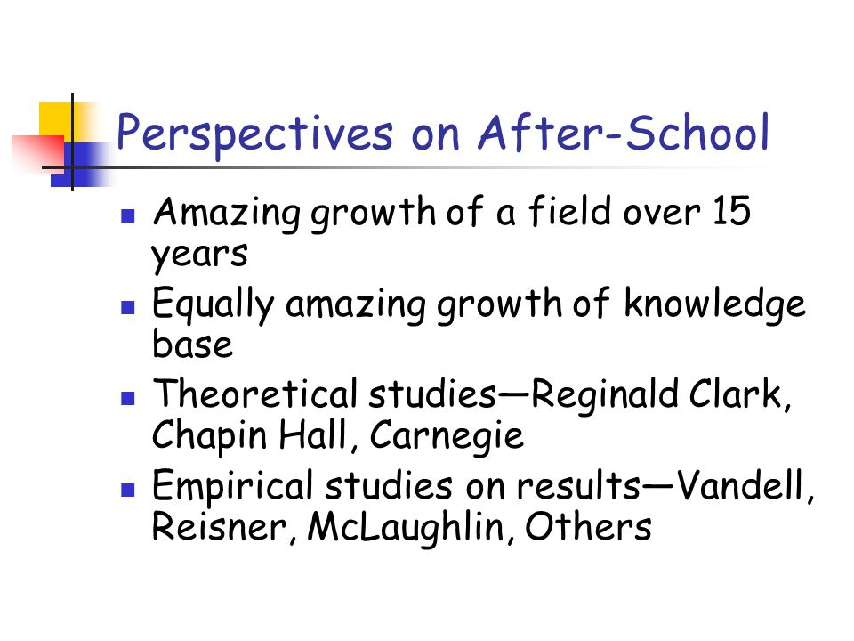 Perspectives on After-School Amazing growth of a field over 15 years Equally amazing growth of knowledge base Theoretical studies—Reginald Clark, Chapin Hall, Carnegie Empirical studies on results—Vandell, Reisner, McLaughlin, Others