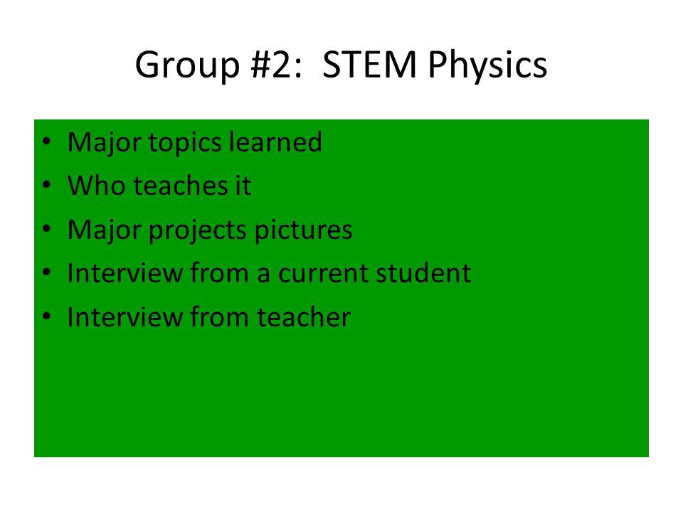 TopicStudent #1Student #2Student #3 Introduction to STEM JacobBenXXXXXXXXXXXXXXXX STEM Physical Science AndrewSaraRandi STEM PhysicsEthanMackenzieWade STEM Algebra IISiggyMattLogan BridgesTommyDrewSeth STEM BiologyAriannaKyleK.