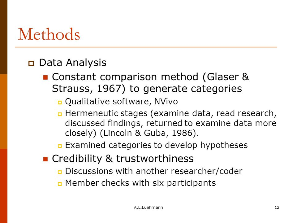 A.L.Luehmann12 Methods  Data Analysis Constant comparison method (Glaser & Strauss, 1967) to generate categories  Qualitative software, NVivo  Hermeneutic stages (examine data, read research, discussed findings, returned to examine data more closely) (Lincoln & Guba, 1986).