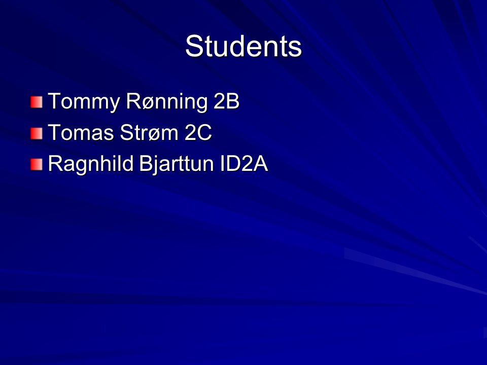Students Tommy Rønning 2B Tomas Strøm 2C Ragnhild Bjarttun ID2A