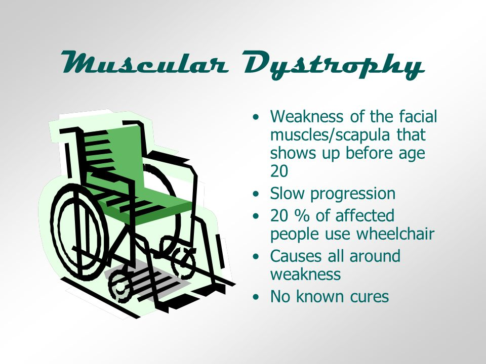 Muscular Dystrophy Weakness of the facial muscles/scapula that shows up before age 20 Slow progression 20 % of affected people use wheelchair Causes all around weakness No known cures