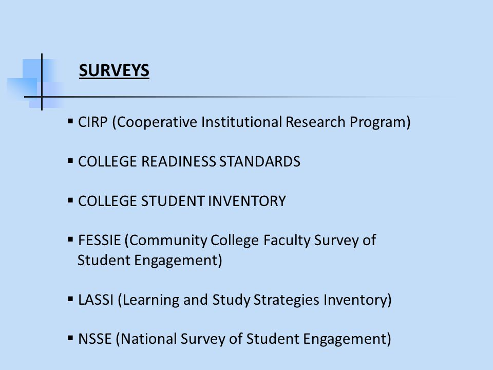 SURVEYS  CIRP (Cooperative Institutional Research Program)  COLLEGE READINESS STANDARDS  COLLEGE STUDENT INVENTORY  FESSIE (Community College Faculty Survey of Student Engagement)  LASSI (Learning and Study Strategies Inventory)  NSSE (National Survey of Student Engagement)