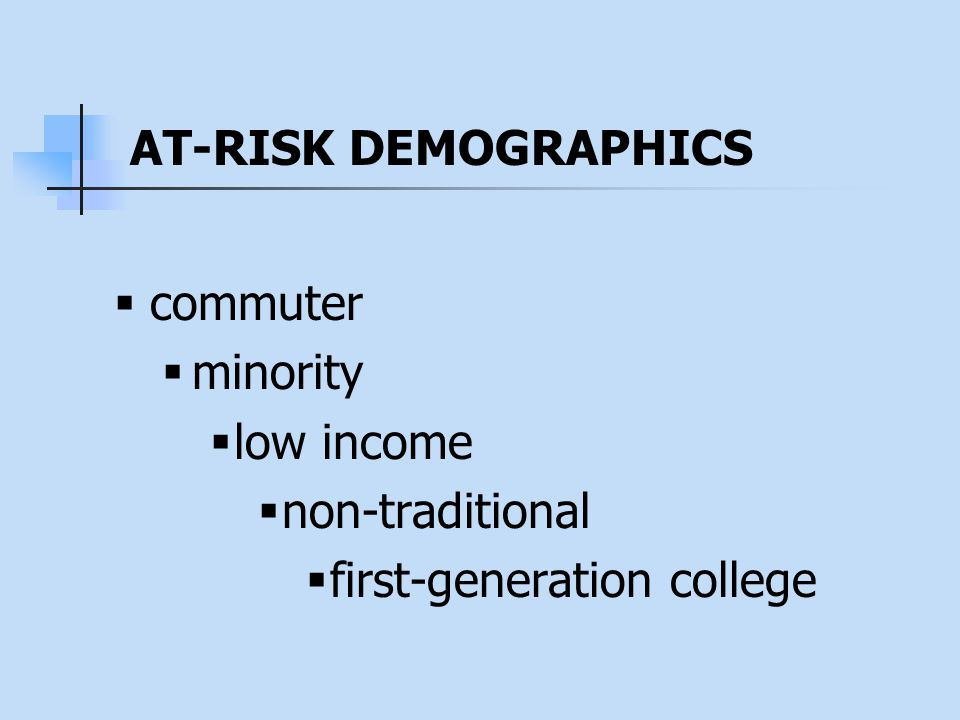  commuter  minority  low income  non-traditional  first-generation college AT-RISK DEMOGRAPHICS