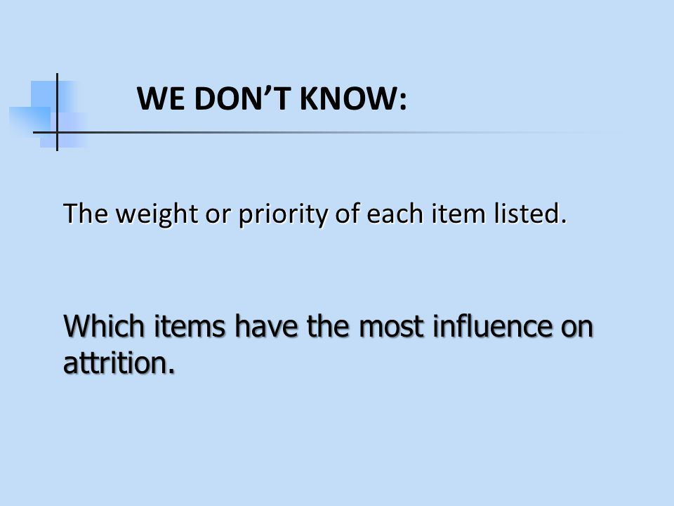 The weight or priority of each item listed. Which items have the most influence on attrition.