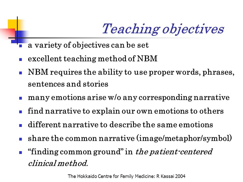 The Hokkaido Centre for Family Medicine: R Kassai 2004 Teaching objectives a variety of objectives can be set excellent teaching method of NBM NBM req