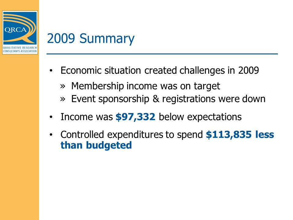 Economic situation created challenges in 2009 »Membership income was on target »Event sponsorship & registrations were down Income was $97,332 below expectations Controlled expenditures to spend $113,835 less than budgeted 2009 Summary