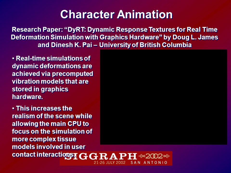 Research Paper: DyRT: Dynamic Response Textures for Real Time Deformation Simulation with Graphics Hardware by Doug L.