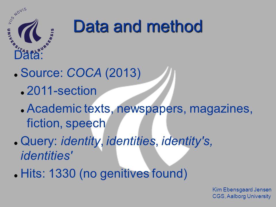 Kim Ebensgaard Jensen CGS, Aalborg University Data and method Data: Source: COCA (2013) 2011-section Academic texts, newspapers, magazines, fiction, s