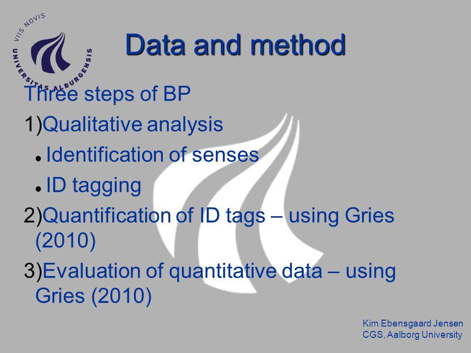 Kim Ebensgaard Jensen CGS, Aalborg University Data and method Three steps of BP 1)Qualitative analysis Identification of senses ID tagging 2)Quantification of ID tags – using Gries (2010) 3)Evaluation of quantitative data – using Gries (2010)