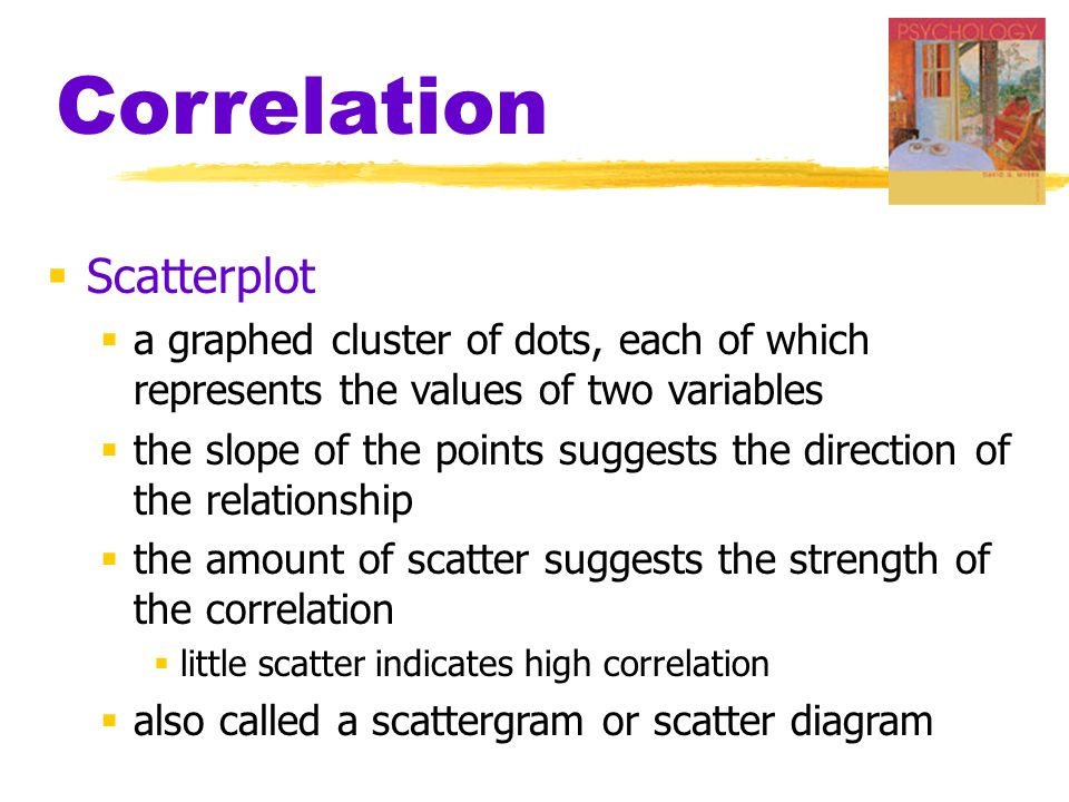 Correlation  Scatterplot  a graphed cluster of dots, each of which represents the values of two variables  the slope of the points suggests the direction of the relationship  the amount of scatter suggests the strength of the correlation  little scatter indicates high correlation  also called a scattergram or scatter diagram
