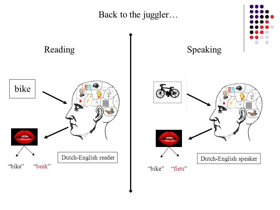 """bike"" ""beek"" Dutch-English reader ""bike"" ""fiets"" Dutch-English speaker bike Reading Speaking Back to the juggler…"