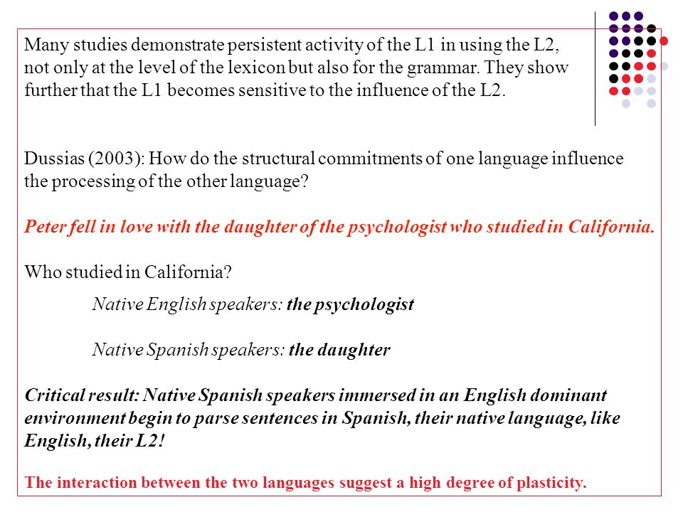Many studies demonstrate persistent activity of the L1 in using the L2, not only at the level of the lexicon but also for the grammar.