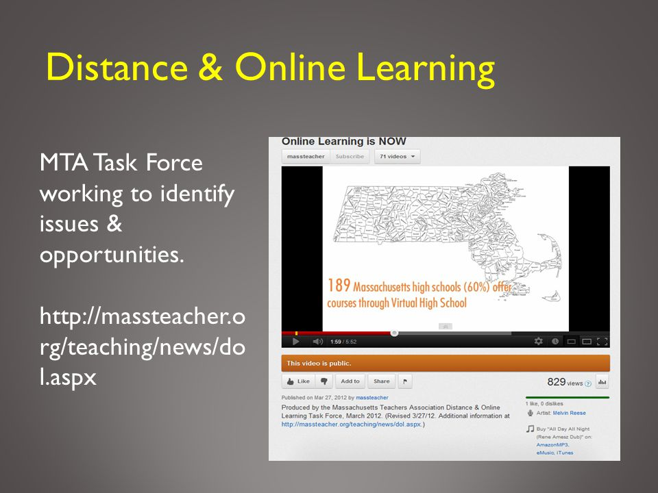 Distance & Online Learning MTA Task Force working to identify issues & opportunities. http://massteacher.o rg/teaching/news/do l.aspx