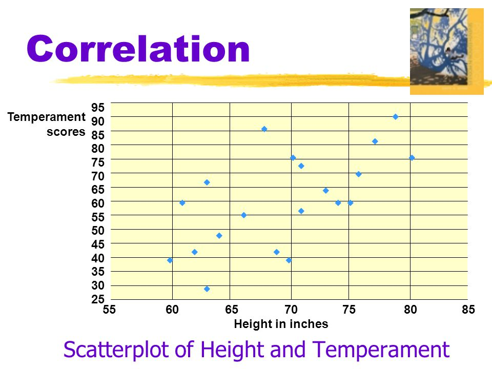 Correlation Scatterplot of Height and Temperament 55 60 65 70 75 80 85 95 90 85 80 75 70 65 60 55 50 45 40 35 30 25 Temperament scores Height in inches