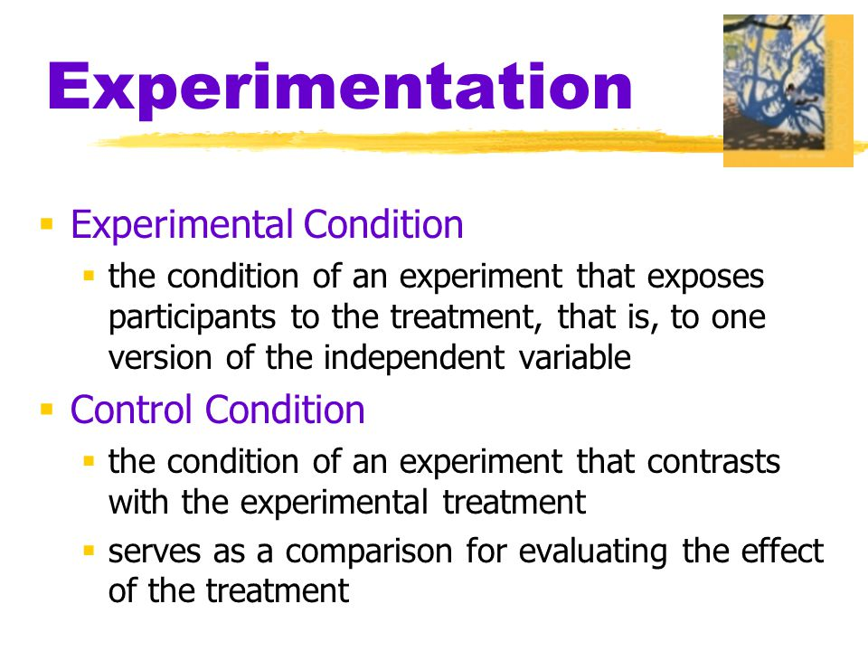 Experimentation  Experimental Condition  the condition of an experiment that exposes participants to the treatment, that is, to one version of the independent variable  Control Condition  the condition of an experiment that contrasts with the experimental treatment  serves as a comparison for evaluating the effect of the treatment