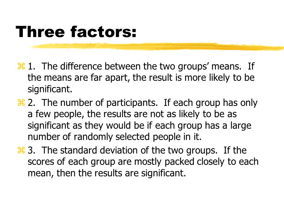 Three factors: z1.The difference between the two groups' means.