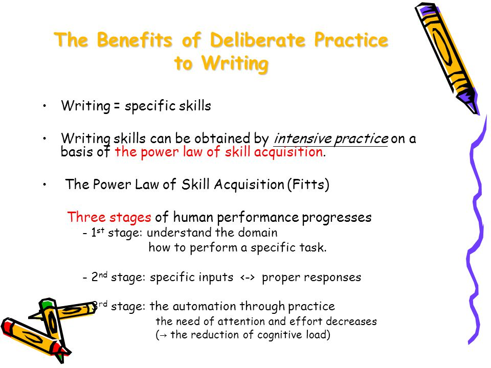 The Benefits of Deliberate Practice to Writing Writing = specific skills Writing skills can be obtained by intensive practice on a basis of the power law of skill acquisition.