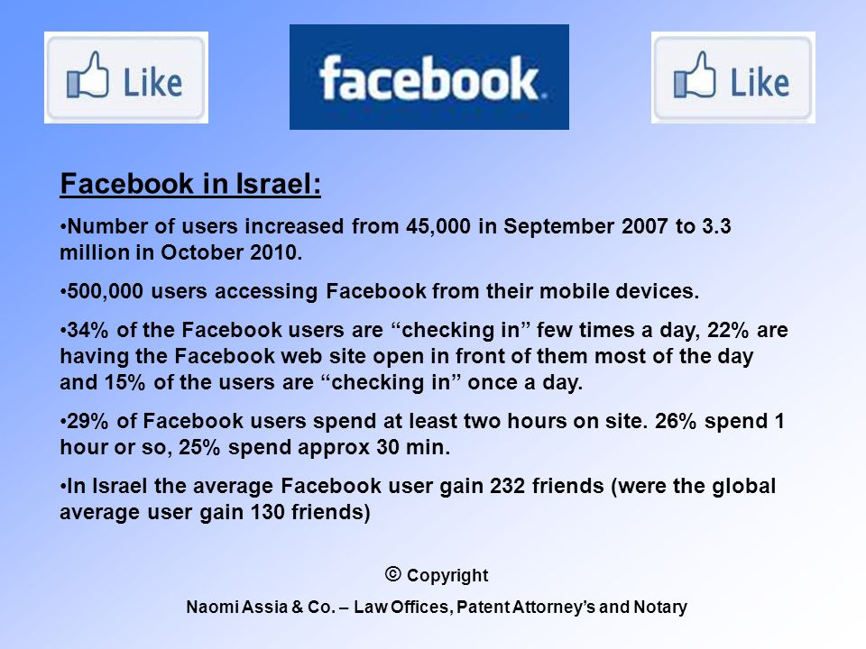 Facebook in Israel: Number of users increased from 45,000 in September 2007 to 3.3 million in October 2010.